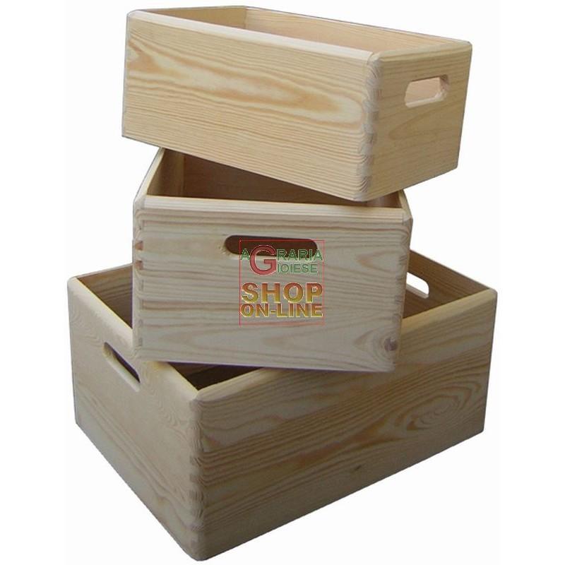 Kit tre cassette in legno modello petunia 3 pezzi for Cassette ikea