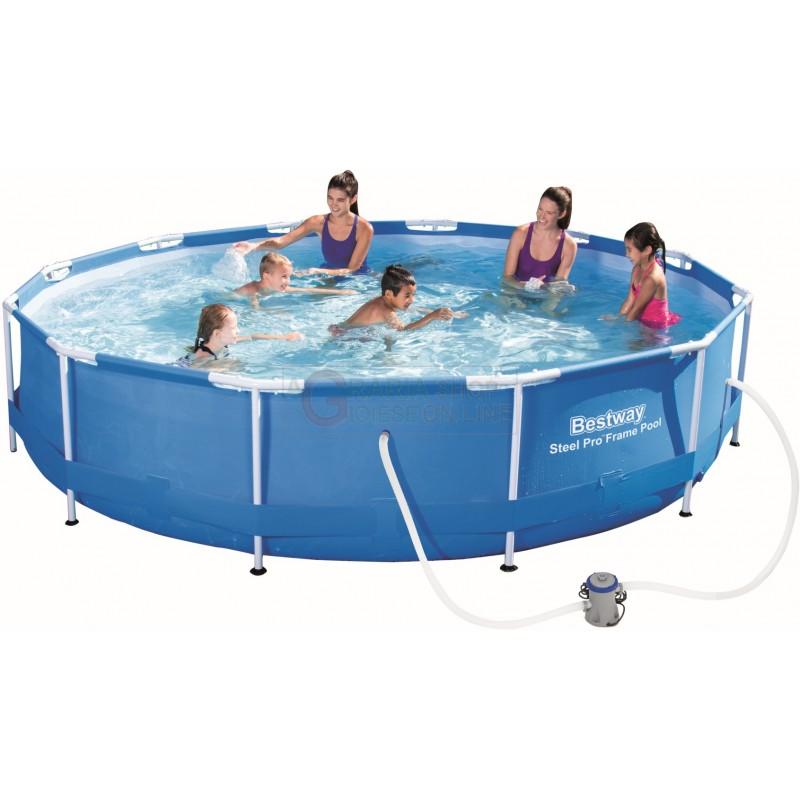 Bestway 56416 piscina con telaio completa steel frame cm for Piscine bestway metal frame pro ovale
