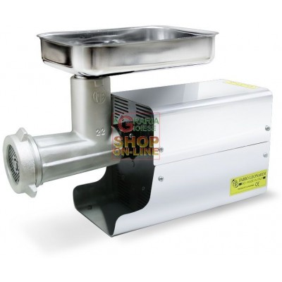 LEONARDI PROFESSIONAL ELECTRIC MEAT MINCER N. 22 HP. 1 WATT 750 TIN-PLATED WITH STAINLESS STEEL