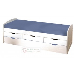 BED WITH DRAWERS, CONTAINER AND SECOND LOWER BED WITH