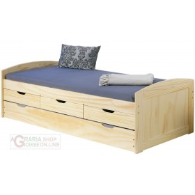 BED WITH DRAWERS, CONTAINER AND SECOND LOWER BED WITH EXTRACTION CM. 98x195x63H WOOD COLOR