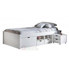 BED WITH CONTAINER COMPARTMENTS AND BEDSIDE TABLE WITH WHEELS