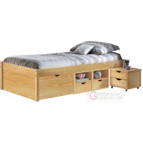 BED WITH CONTAINER COMPARTMENTS AND BEDSIDE TABLE WITH WHEELS INCLUDED DIM. 96x209x47,5H NATURAL WOOD