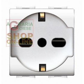 LIFE ART. 4050WH BYPASS SOCKET WITH WHITE SCHUKO
