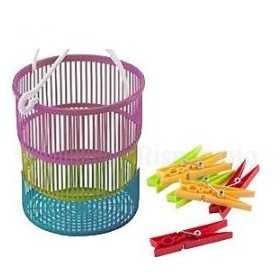 MAX BASKET WITH 10 PLASTIC CLOTHES FOR LAUNDRY