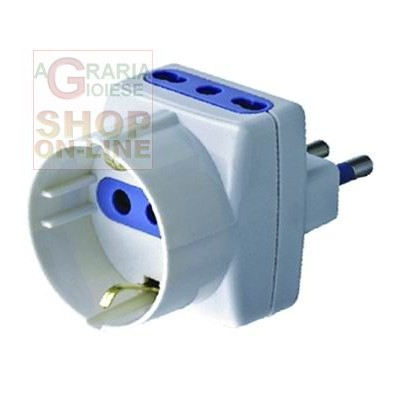 TRIPLE 10A ADAPTER WITH SCHUKO