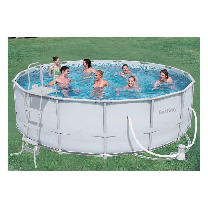 Bestway piscina con telaio completa cm 457x122 mod 56235 for Cubre piscina bestway