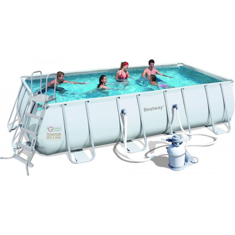Bestway piscina power steel frame rettangolare cm for Piscina 488x274x122