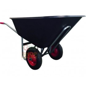 VIGOR BIG WHEELBARROW WITH 2 WHEELS BLACK PLASTIC BATH LT. 240