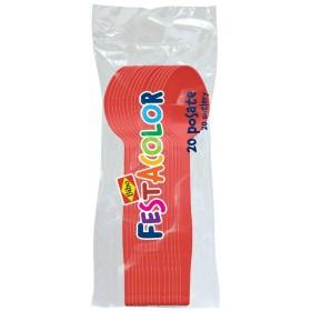 BIBO 20 SPOONS IN RED PLASTIC FESTACOLOR