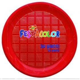BIBO 30 ROUND RED PLASTIC DESSERT PLATES DIAM. CM. 17