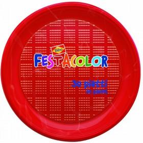 BIBO 30 ROUND RED PLASTIC PLATES DIAM. 21.5 CM.