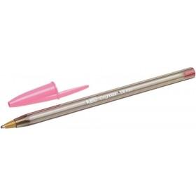 BIC Cristal fine tip pen in pink metal