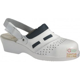 WOMEN'S LEATHER CLOG WITH WHITE STRAP TG 35 41