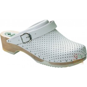 CLOG IN PERFORATED LEATHER WHITE WOOD SOLE TG 35 46