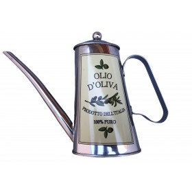 OVAL STAINLESS STEEL OIL WITH WRITTEN OLIVE OIL PRODUCT OF