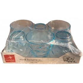 BORMIOLI FLORA BLUE WATER GLASSES, 6 PIECES PACK