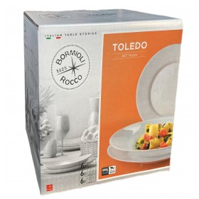 BORMIOLI SET 18 DEEP PLATES AND DESSERT TOLEDO SERIES