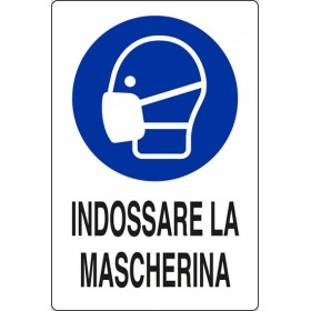 PLASTIC SIGNAL SIGN TO WEAR MASK mm. 300X200