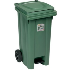 SQUARE URBAN NETTEZZA BIN WITH WHEELS AND PEDAL LT. 120 FERN GREEN