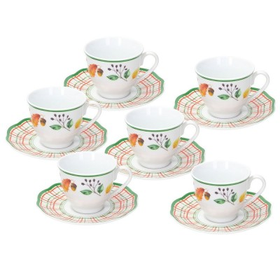 TOGNANA Confezione 6 Tazze Caffè Con Piatto Biancospino