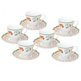 TOGNANA Confezione 6 Tazze Tè Con Piatto Biancospino