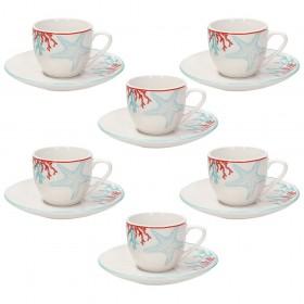TOGNANA Confezione 6 Tazzine Caffè Con Piattino Porcellana 90 Cc METROPOL ALYSSA