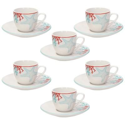 TOGNANA Confezione 6 Tazzine Caffè Con Piattino Porcellana 90