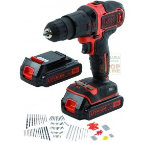 BLACK AND DECKER IMPACT DRILL WITH 2 LITHIUM BATTERIES 18V 1,5AH HD18BOA-QW SET160