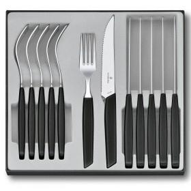 Victorinox Set posate Coltello a punta e forchetta Swiss Modern con manico nero pz. 12
