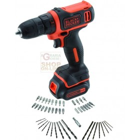 BLACK DECKER TRAPANO A BATTERIA A LITIO CDD12AT-QW SET-50