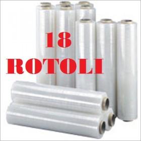 18 ROTOLI PELLICOLA ESTENSIBILE FILM CM. 50X300ML TRASPARENTE KG. 2,5
