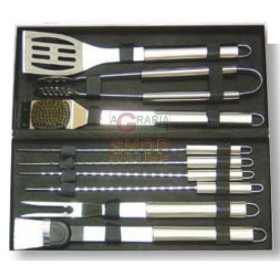 BLINKY TOOL SET FOR BARBECUE WITH CASE 10 PIECES IN CHROME STEEL