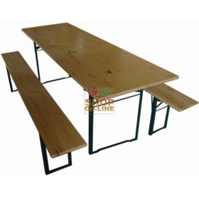 BLINKY WOODEN BREWERY TABLE WITH TWO BENCHES 96926-10 / 9