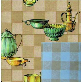 BLINKY TABLECLOTH DOUBLE-FACE VINTAGE MUGS MT. 1.4X30