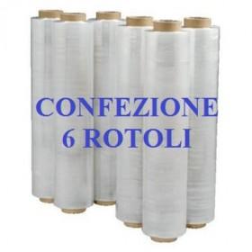 6 ROTOLI PELLICOLA ESTENSIBILE FILM CM. 50X300ML TRASPARENTE KG. 2,5