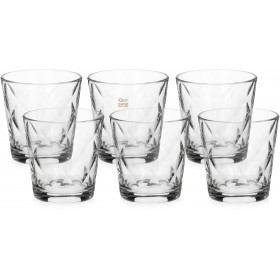 BORMIOLI SET 6 GLASS GLASSES FOR WATER MOD. KALEIDO CL. 24