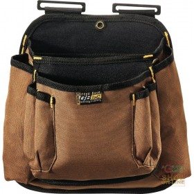 BORSA CARPENTIERE 2 TASCHE IN TESSUTO CANVAS  COLORE MARRONE