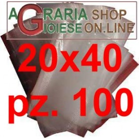 BUSTE SACCHETTI PER SOTTOVUOTO GOFFRATE CM.20X40 IN CONFEZIONE DA 100 PZ.
