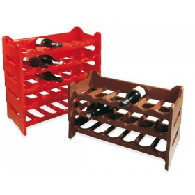WINE CELLAR STACKABLE PLASTIC BOTTLE HOLDER 6 PLACES BROWN