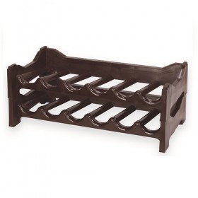 CELLAR BOTTLE RACK PLASTIC STACKABLE 6 PLACES BROWN ECOPLAS