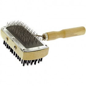 Simple double wooden carder with spikes and brush for dogs and cats