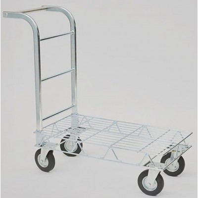 GALVANIZED WIRE FLAT TROLLEY WITH FOUR WHEELS