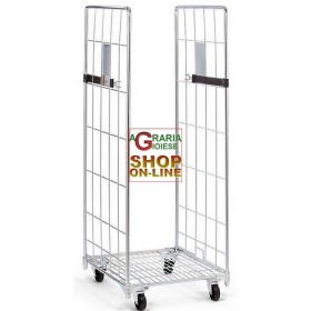 TROLLEY WITH 2 SIDES GALVANIZED ROLL CONTAINER CM. 80x71x180h NEW
