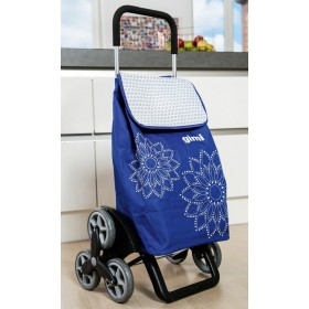 GIMI TRIS FLORAL BLUE HANGING TROLLEY WITH 6 WHEELS