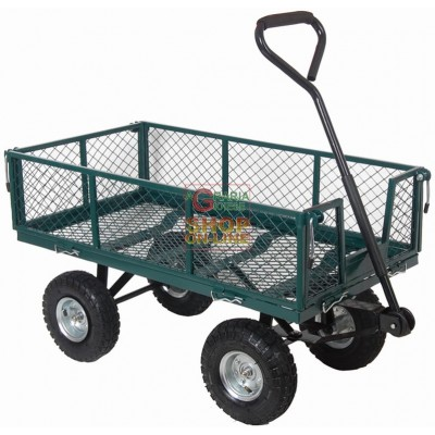 CART MULTIPURPOSE TROLLEY WITH SIDES AND FOUR-WHEEL HANDLEBAR KG. 150