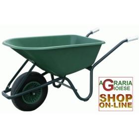 WHEELBARROW 100-GREEN PLASTIC TANK 100LT