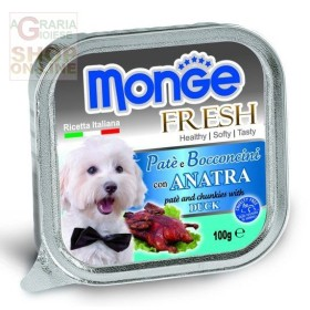MONGE FRESH PATE AND CHUNKS FOR DOGS WITH DUCK GR. 100