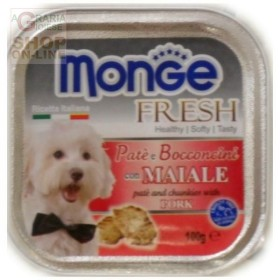 MONGE FRESH PATE AND SMALL CHUNKS FOR DOGS WITH PORK GR. 100