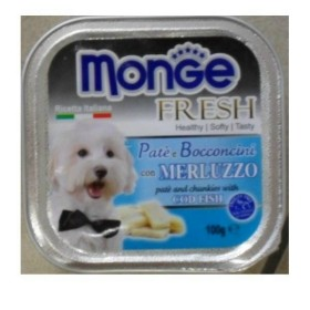 MONGE FRESH PATE AND SMALL CHUNKS FOR DOGS WITH COD GR. 100
